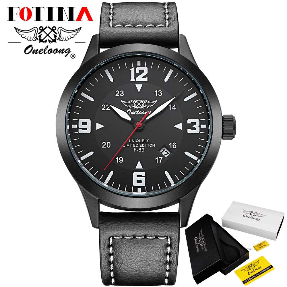 Fotina HK Brand ONELOONG Men Genuine Leather Watch Sports Quartz Watches For Mens Male Clock Military Watch Relogio Masculino<br><br>Aliexpress