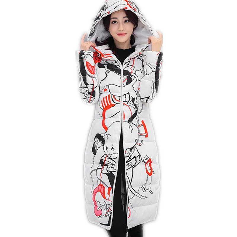 2017 New Fashion 100% Polyester Fiber Winter Women Print  Slim Cotton Jacket  Padded Hooded Women Coat Thicken Long Parkas CQ052Îäåæäà è àêñåññóàðû<br><br>