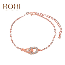 2017 ROXI Charms Lucky Double Circle Rhinestones Bracelet Wedding Jewelry Rose Gold Pendant Chain Mother's Gife(China)
