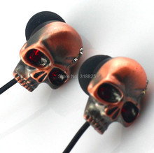 High quality Handsfree 3.5MM In-ear skull earphone earbuds for MP3/MP4 for phone DJ candy earphonewith retailbox tips(China)