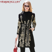 Novelty Coats 2018 Early Spring Women Europe Fashion Gold Thread Embroidery Belt Black / Red Luxury Long Wide-waisted Hot Coat(China)