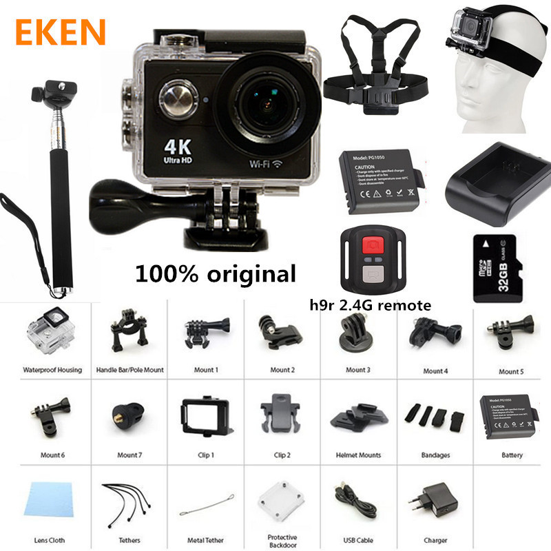 New Arrival! Action Camera 100% Original Eken H9/H9R Ultra HD 4K 30M sport 2.0 Screen 1080p FHD go waterproof pro camera<br>