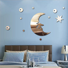 Moon&Stars 3D Acrylic Mirror Wall Stickers Fancy Wall Decal Wall Poster Decor