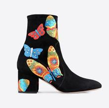 2016 Winter Women Ankle Appliques Boots Butterfly Shoes embroidery leather booties thick heel party shoes fashion bota box heel