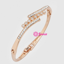 Fashion Jewelry, Crystal Rhinestone Hinged Bangles 3 Lines Crystal Bangle Bracelet for Women Jewelry