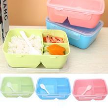 3 Compartments Bento Lunchbox Convenient Food Container Student Tableware Dinnerware 3 Colors