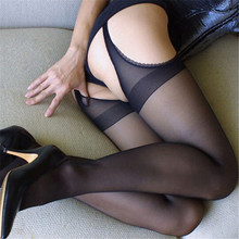 Buy Factory Price! Women Sexy Black Red Hollow Sheer Stockings Crotchless Elastic Pantyhose Socks