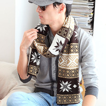 Men's Fashion Winter Scarf with Snow Shape Knitted Long Shawls for Man Top Quality Scarves Cashmere Thick Wraps(China)