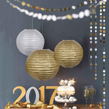 Hot sale!5pcs/lot Wedding Decoration Paper Lantern Gold Silver Birthday Party Decorations Kids White Chinese Lantern Supplies(China)