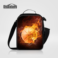 Dispalang Thermal Cooler Picnic Bag Lancheira Basketballs Printing Children Food Storage Footballs Small Lunch Bags For School(China)
