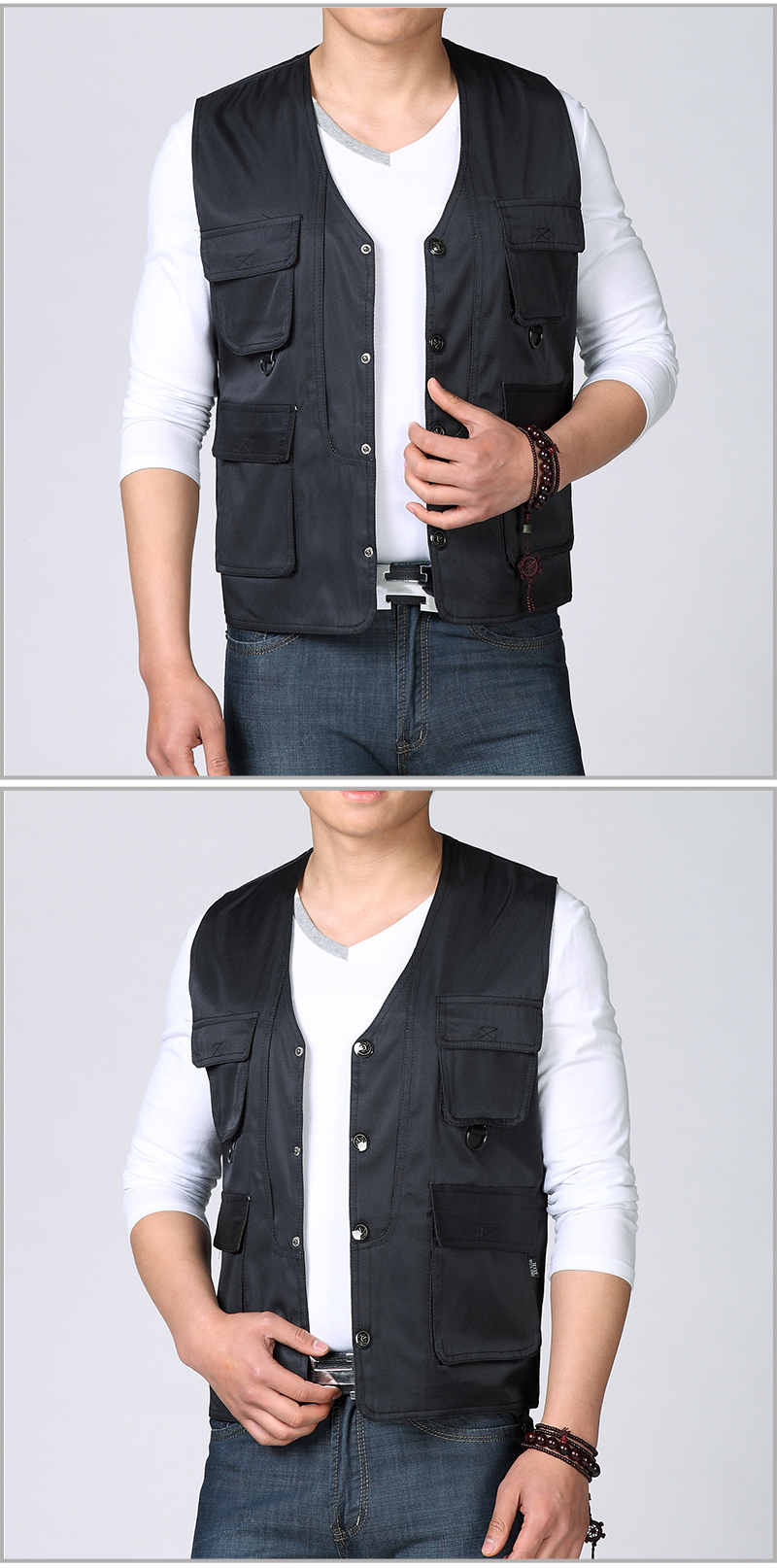 Spring Autumn Man Casual Vest Army Green Black Waistcoat For Men Leisure Gilet Male Herringbone Vest Multi Pockets Waistcoat Mens Weskit (7)