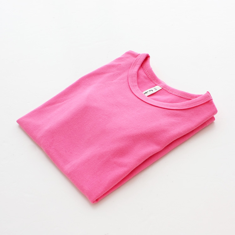 Autumn New 100% Cotton Kids T Shirt Candy Color Long Sleeve Baby Boys Girls T-Shirt Children Pullovers Tee Girl Boys Clothes 3