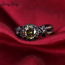 RongXing Elegant August Birthstone Flower Ring Vintage Black Gold Filled Round Olive Green Zircon Rings For Women Wedding RB1204