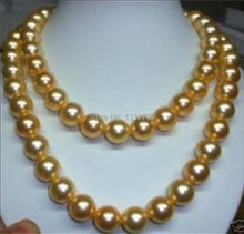 Natural Stone 10mm gold-color AAA south sea shell pearl necklace 36 INCH beads jewelry making YE2071 Wholesale Price