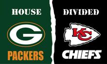 Green Bay Packers VS Kansas City Cheifs House Divided flags 3ftx5ft Banner 100D Polyester Flag metal Grommets(China)