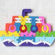 Hot Sale Colorful Wodden Toy Boat Toys Accessories Intelligence puzzle 26 letter digital wooden puzzle building  toy gift