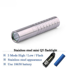 Torchlight Rechargeable Flashlight CREE Q5 LED Mini lantern Stainless Steel Torches use 18650 battery