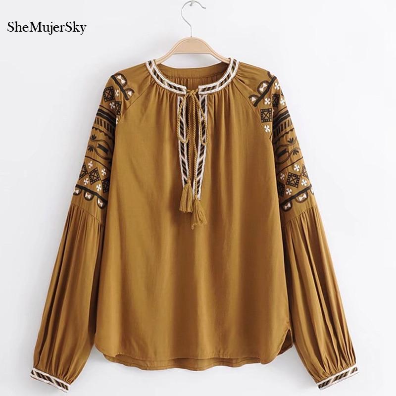e3da66773ee389 2019 SheMujerSky Boho Blouse Women 2018 Embroidery Bohemian Shirt ...