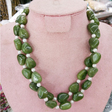 Natural Irregular Emeralds Necklace Jewelry Stone Chocker Handmade Women Jewelry 2 Layer Natural Stones Necklace Collares Mujer