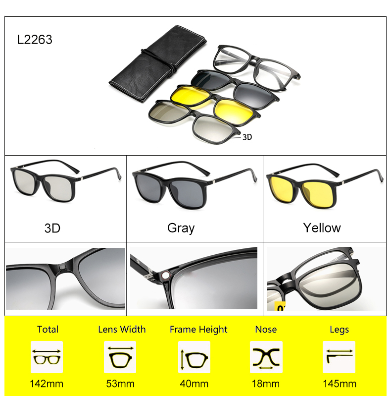 Ralferty 2018 Multi-Function Magnetic Polarized Clip On Sunglasses Men Women Ultra-Light TR90 3D Yellow Night Vision Glasses 10