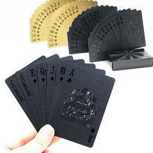 Plastic Playing Cards Waterproof Golden Poker Black Collection Black Diamond Poker Cards Hot Gift Standard Playing Cards #15(China)