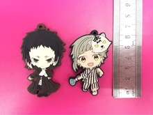 2 Pcs/set Anime Bungou Stray Dogs pvc figure toy Rubber phone strap/Keychain pendant toys for gifts