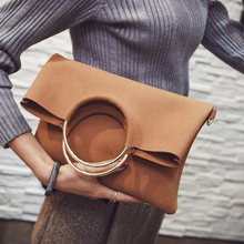 folding bag women vintage suede leather handbags envelope clutch bags wrist messenger bags female office briefcase hand bag 2017(China)