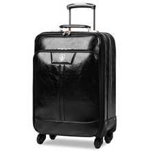 Letrend Business Trolley Case PU Leather Rolling Luggage 16 inch Cabin Wheels Suitcases Spinner Women Travel Bag Password Box(China)