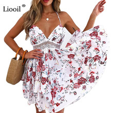 Buy Liooil Sexy Floral Print White Boho Beach Summer Women Dress Lace Patchwork Halter V Neck Backless Casual Ladies Mini Dresses