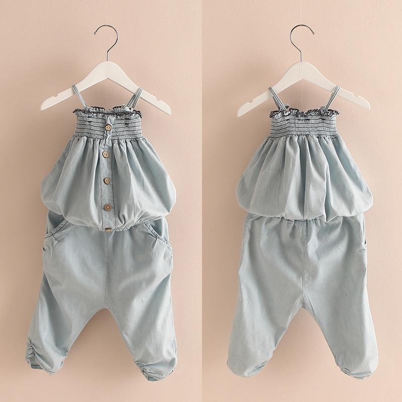2016 Summer Denim Girls Clothing Child Tube Top Spaghetti Strap 7 Harem Pants Set<br><br>Aliexpress