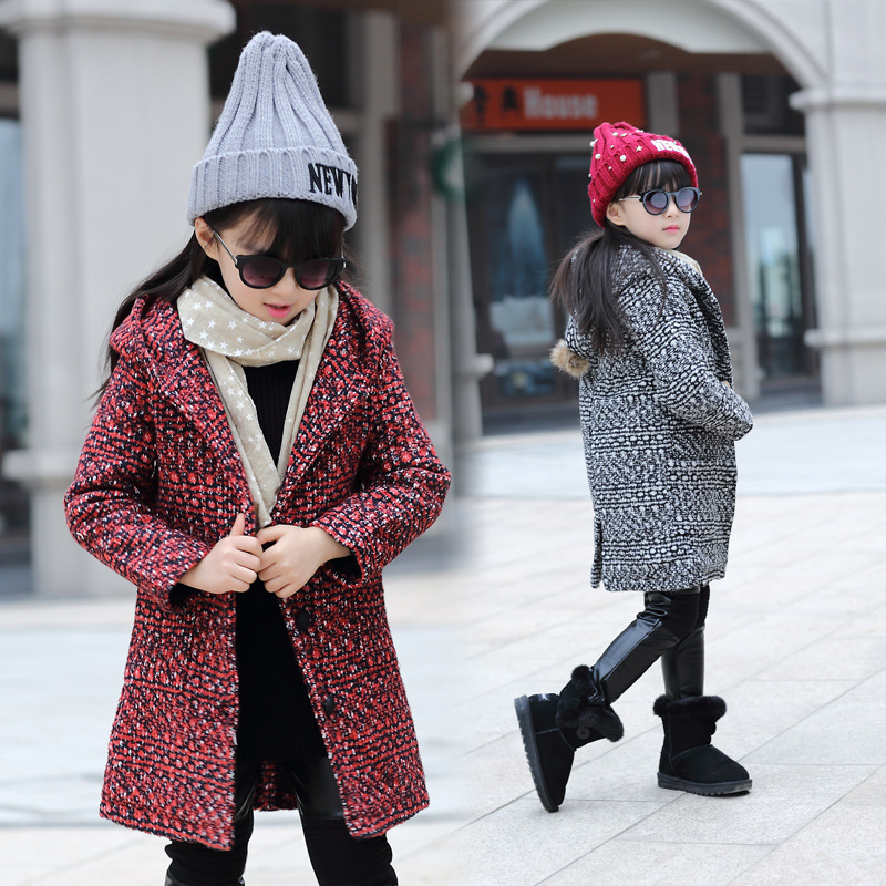 The New 2016 British Childrens Pointed Hat Woolen Cloth Coat Winter Coat Girl Children Childrens Clothes<br>