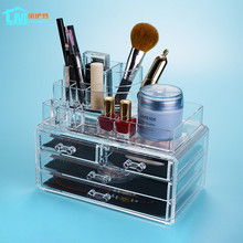 LIYIMENG Makeup Storage Jewelry Organizer Desktop Box Acrylic Drawer Desk Boxes Home Diy Decor Collection Tin Rouge Container(China)