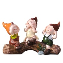 High Quality Stump Three No Elves Handmade Painted Resin Crafts Creative Home Decortion Holiday Gifts