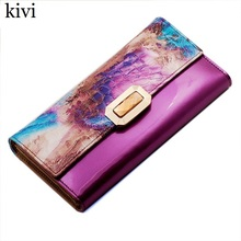 kivi women wallets genuine leather coin purse famous brand long womens purses luxury brand real leather wallet(China)