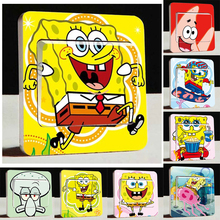 Free shipping Vevy Cute SpongeBob Switch Stickers,3d Cartoon SpongeBob Wall Stickers,Children Room Decor Light Switch stickers