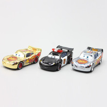 Pixar Cars 3pcs/Lot Gold Silver Police Lightning McQueen Diecast Metal Toy Car For Children Gift 1:55 Loose Brand New In Stock