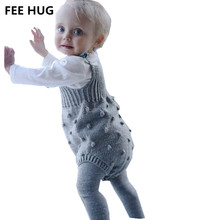 FEE HUG Baby Rompers Toddler Boy Girls Strap Knitted Jumpsuits Infants Girls Overalls Pants Clothes(China)