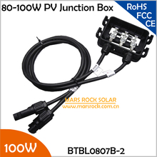 5pcs/Lot 80-100W Solar System Junction Box with 2 Diodes (10A10), MC4 Connector, 90CM Cable, PV Electrical Connectors& Terminals