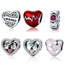 Buy 925 Sterling Silver Commitment Puzzle Love Heart Pink Enamel Zircon Letter Charm Beads fit Women Charm Bracelets Jewelry for $4.22 in AliExpress store