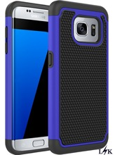 For S7 Edge Case,LK [Shock Absorption] [Drop Protection] Dual Layer Armor Defender Protective for Samsung Galaxy S7 Edge(Blue)