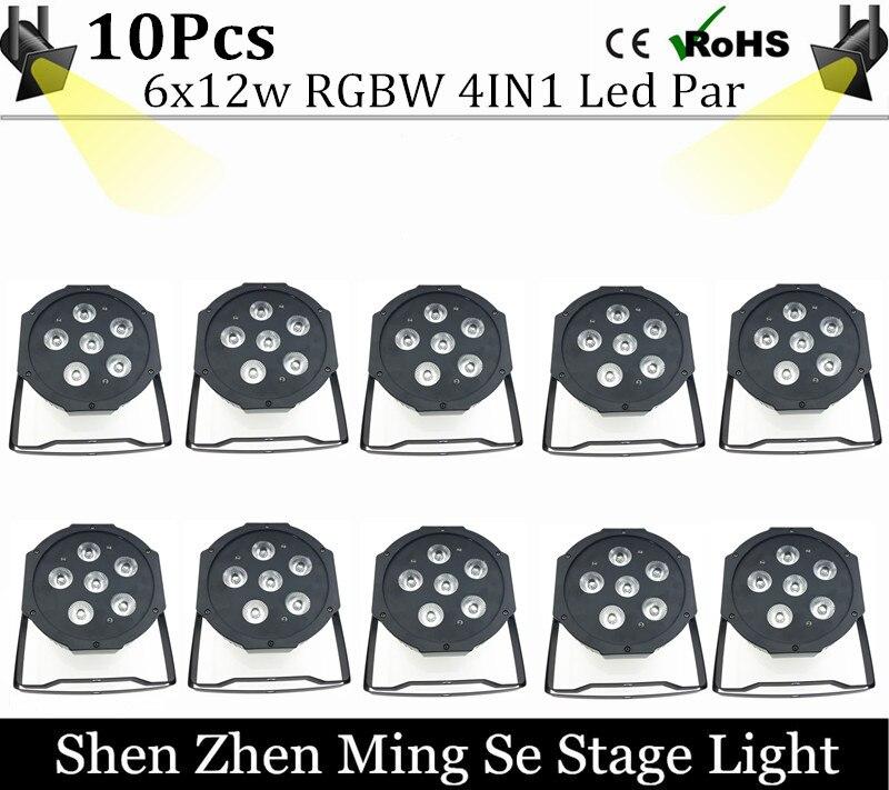 10units 6pcs 12w lamp beads 6x12W led Par lights RGBW 4in1 flat par led dmx512 disco lights professional stage dj equipment<br>