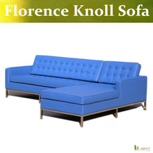 U-BEST The Florence Knoll Style Designer Corner Sofa replica,Cashmere fabric,PU or full leather and stainless steelbase(China)