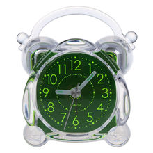 Small Crystal Plastic Desk Bell Alarm Clock with Light(China)