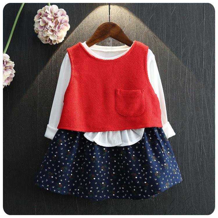 2016 Korean Childrens Garment Autumn 2 Pieces Set New Pattern Girl Baby Satchel Countryside Fresh Dress Vest Suit<br>