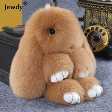 Fluffy Bunny Keychain Women Cute Rabbit Fur Ball Key Holder Pompon Toy Doll Bag Charm Car pompom de fourrure Keyrings Jewelry