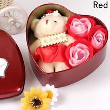 Rose Soap with Little Bear Bath Rose Soap Flower Petal With Gift Box For Birthday Wedding Valentine's Day Love Gift(China)