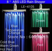 Superfaucet LED Shower Head,LED Rainfall Shower,Rain Shower,LED Water Faucet,LED Faucet Light With Temperature Sensor HG-4105TQ(China)