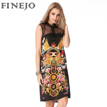 FINEJO Vintage 3D Print Mysterious Totem Summer Dress Hollow Out Patchwork Dresses Sleeveless Sexy Loose Vestidos Clothing