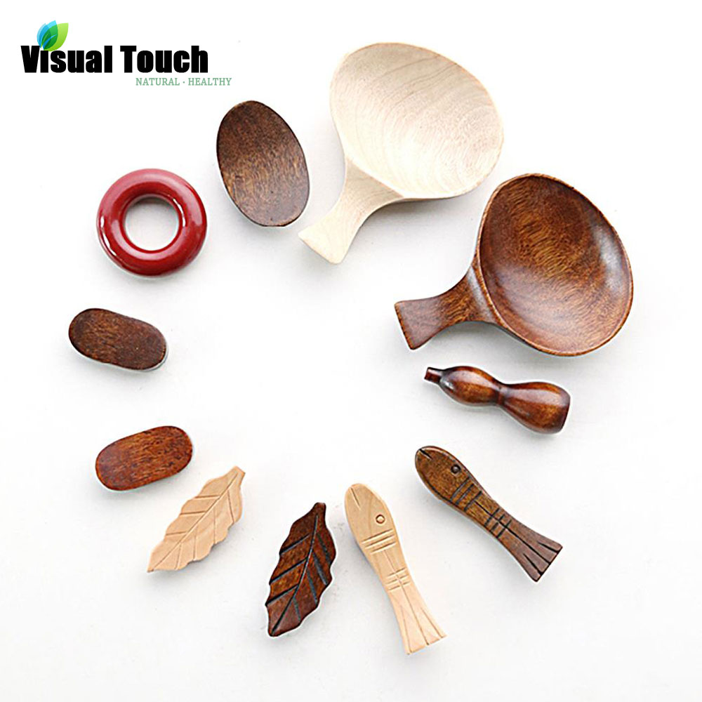 4pcs Wooden Cute Fish Leaf Chopsticks Stand Rest Rack Spoon Holder Tableware