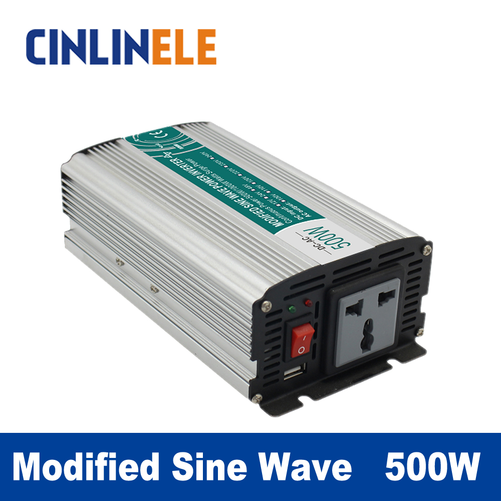 Modified Sine Wave Inverter 500W CLM500A DC 12V 24V to AC 110V 220V 500W Surge Power 1000W Power Inverter 12V 110V<br>